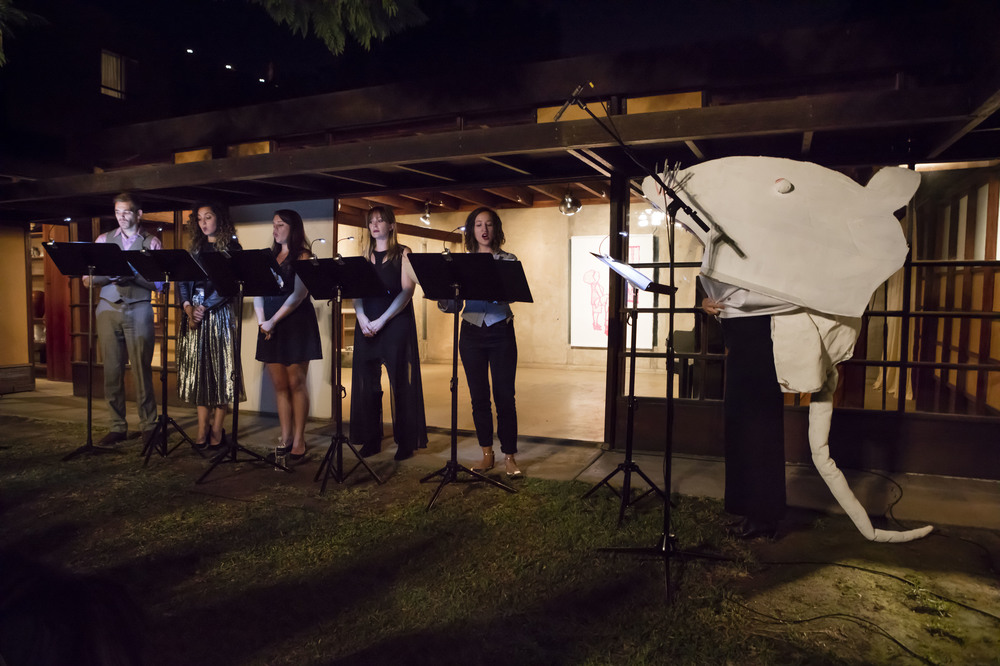 """Stephanie Taylor's """"Kong Boos."""" Vocal artists (left to right), Josh Bedlion, Sara Mann, Natalie Moran, Suzanne Waters, Monika Beal at the MAK Center for Art and Architecture, West Hollywood, CA. 2016."""