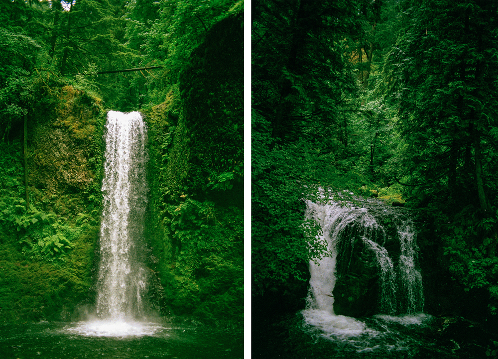 Water falls near Multnomah Falls
