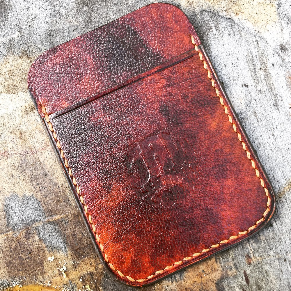 Card case in limited hand stained goatskin. Hand cut, stitched and finished.