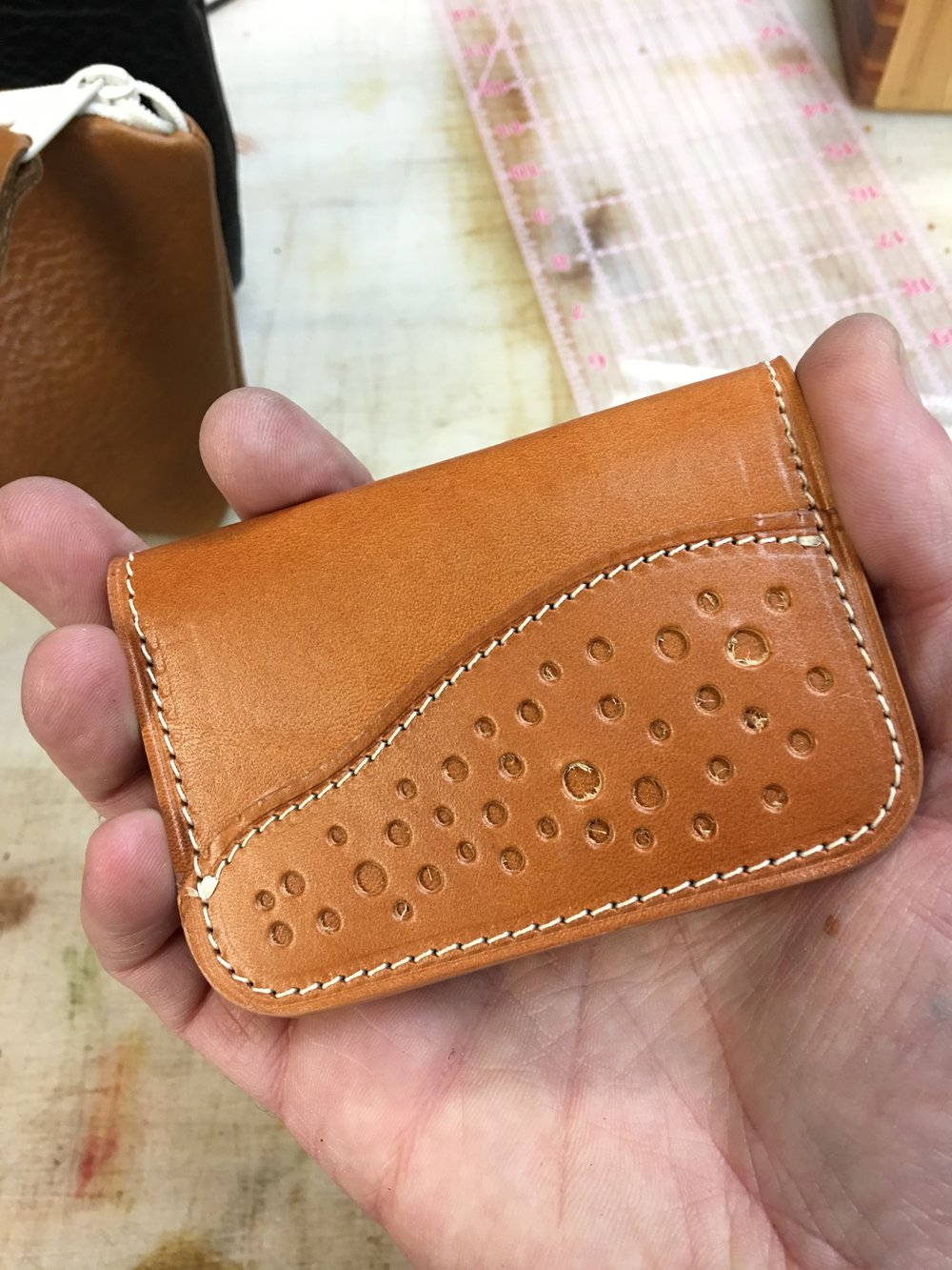 Brogued card wallet