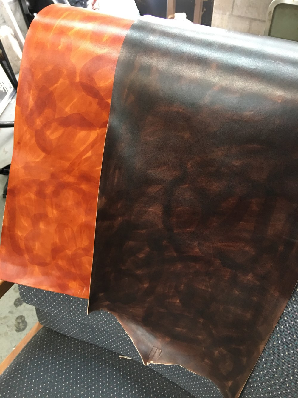 Custom dyed vegetable tanned leather