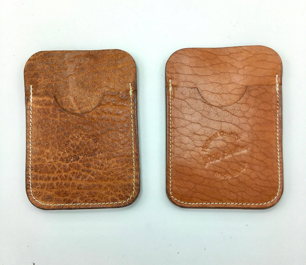 Horween Shrunken Bison (left) and Horween English Tan Essex (right)