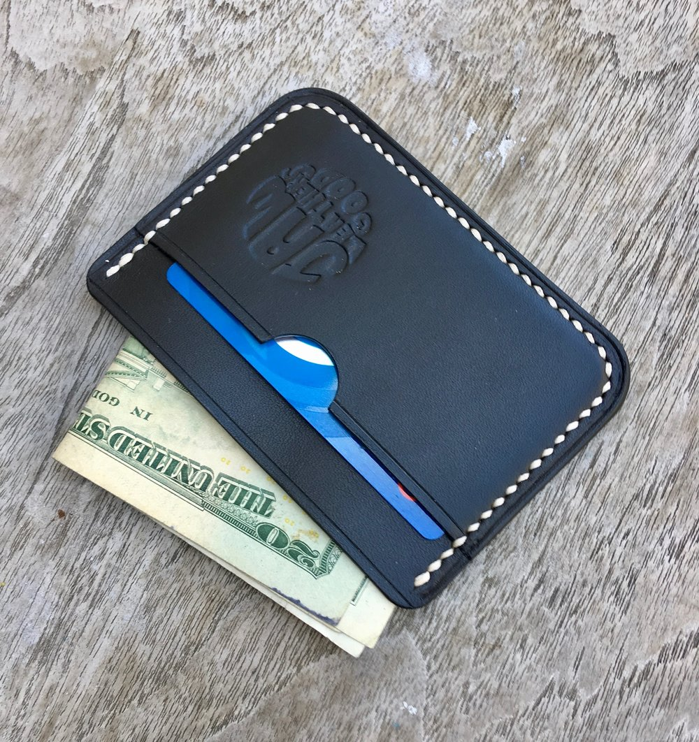3 pocket card wallet made from black Wickett and Craig English Bridle.  mmmm tasty.