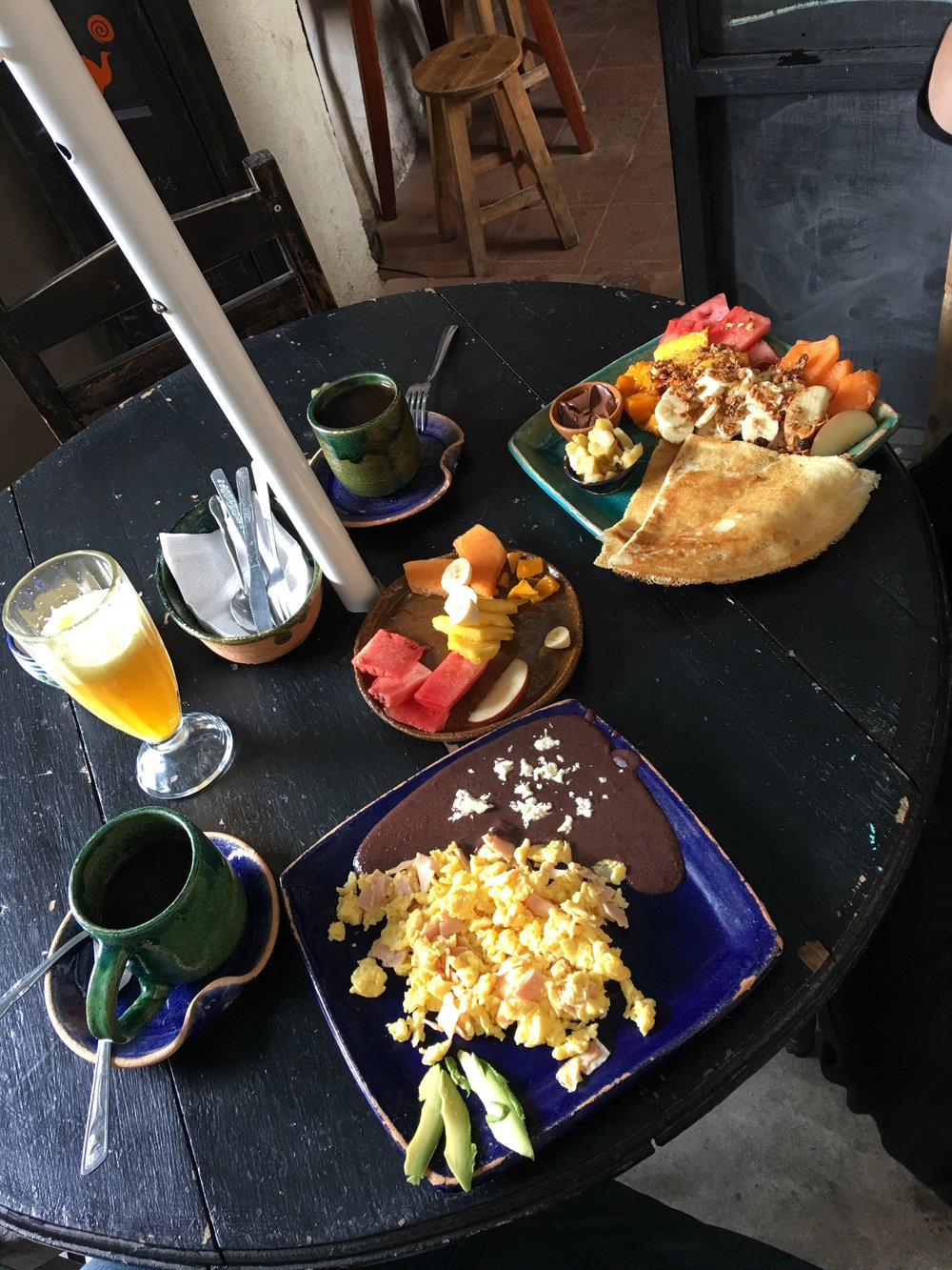 This was our last breakfast at our favorite little cafe, Oscuro Brebaje.  It was literally right next door to where we stayed and it was amazing.  I miss this type of breakfast spread!