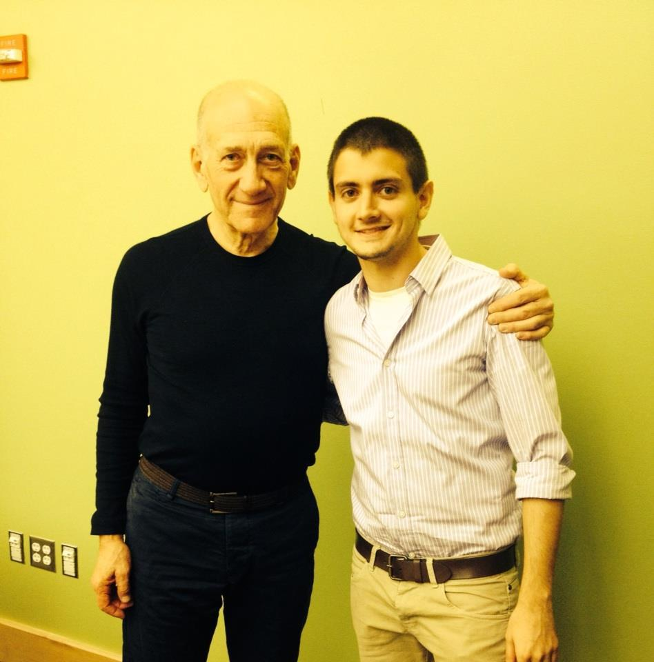 Israeli student Asaf Zilberfarb '17 and Ehud Olmert, former Israeli Prime Minister