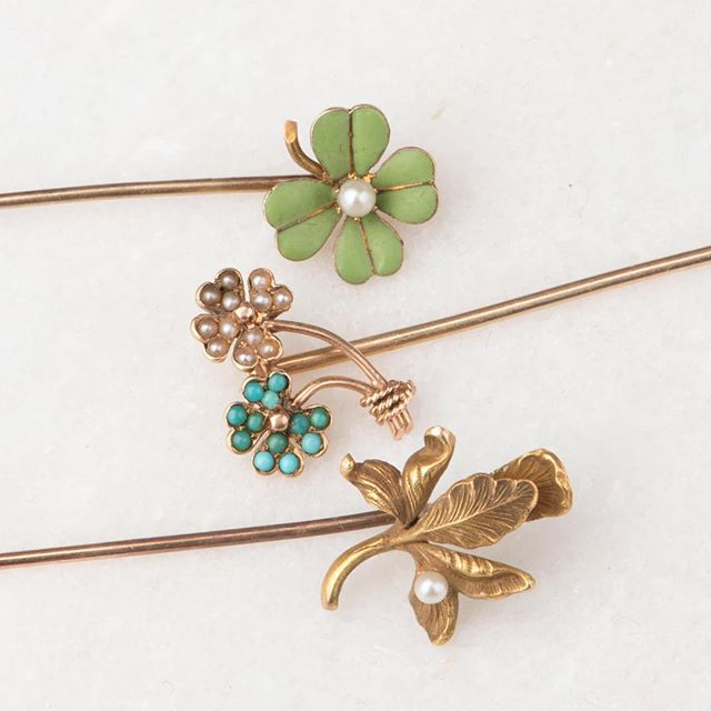Happy #turquoisetuesday my friends.  Some available stick pins from our customizable conversion line, the Florence collection. 🍀