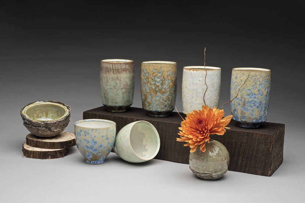 Still Life of Tumblers, Yunomi, Bud Vase, and Salt Cellar  2015