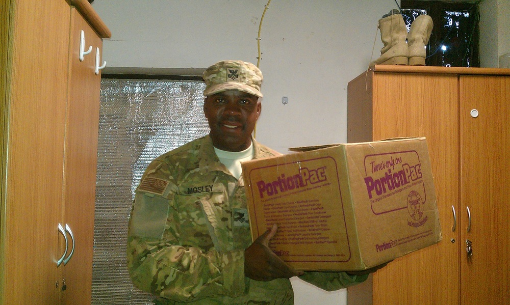 One of our Contract Management employees receives a package.