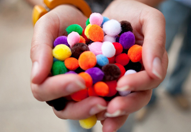 Forgo confetti for pom-poms.