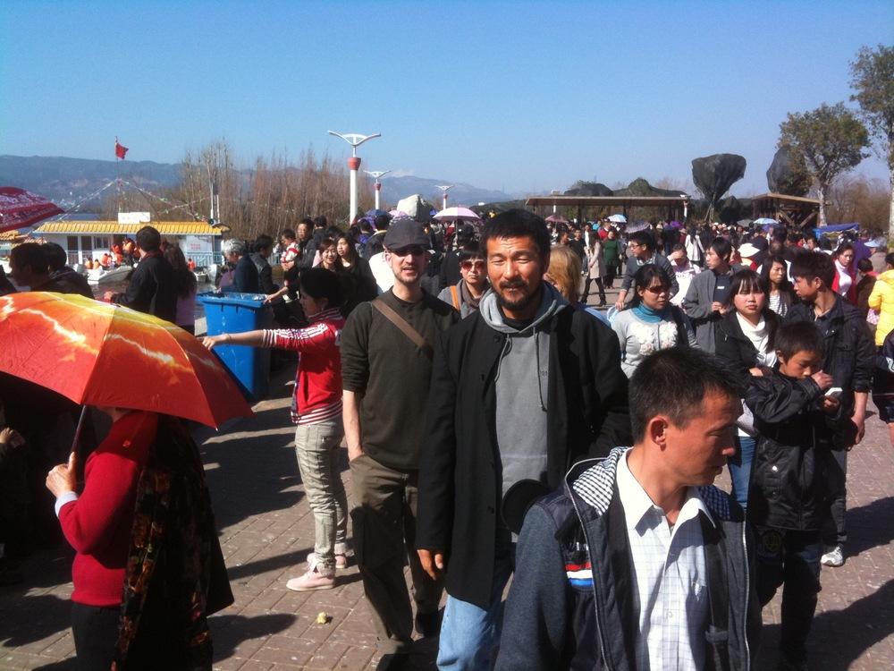 Moving through a Kunming crowd