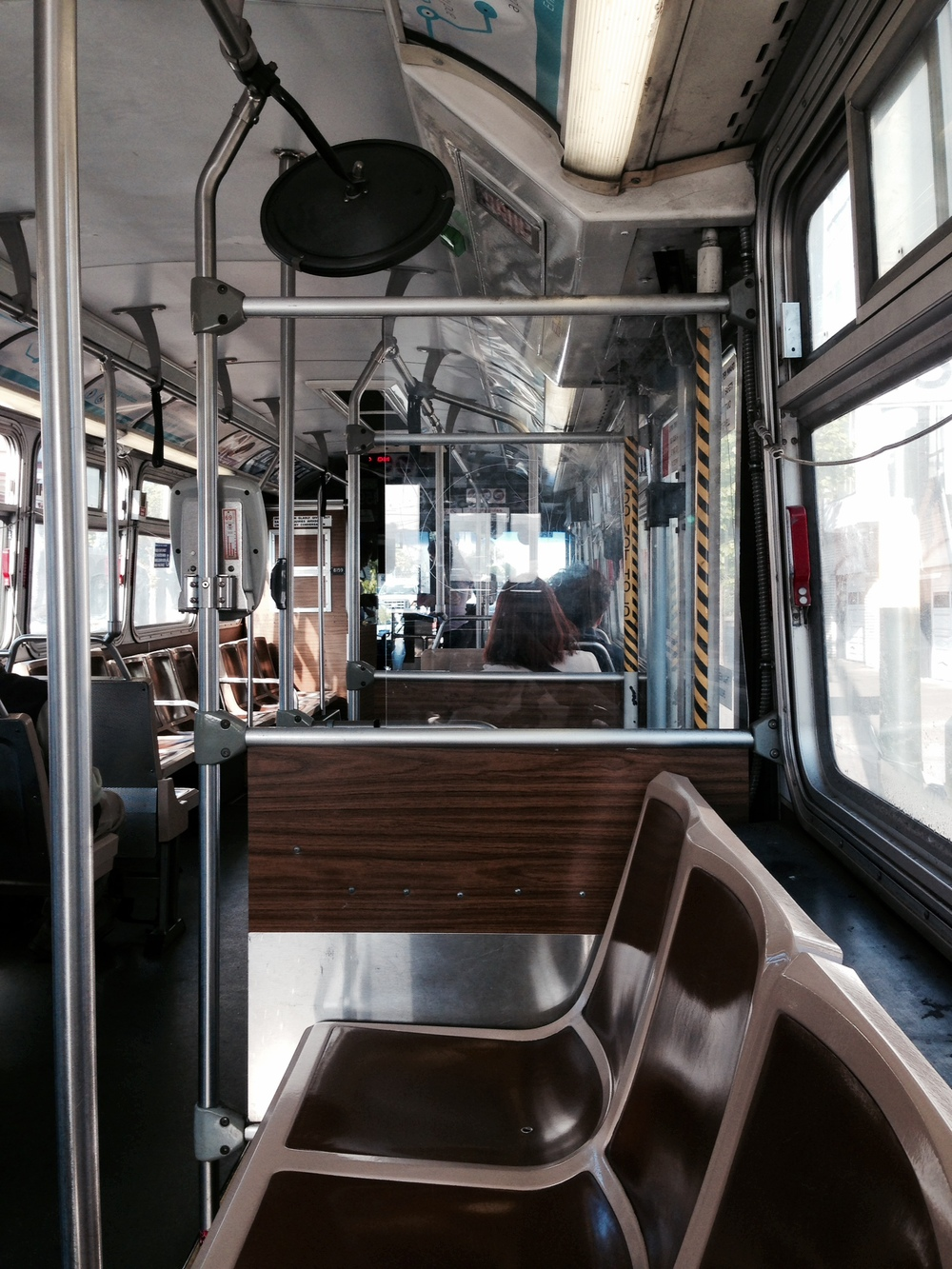 This framed picture is a frame within a frame. Notice that the metal bars of the Muni bus is parallel to the frame of this picture giving the picture more intent.