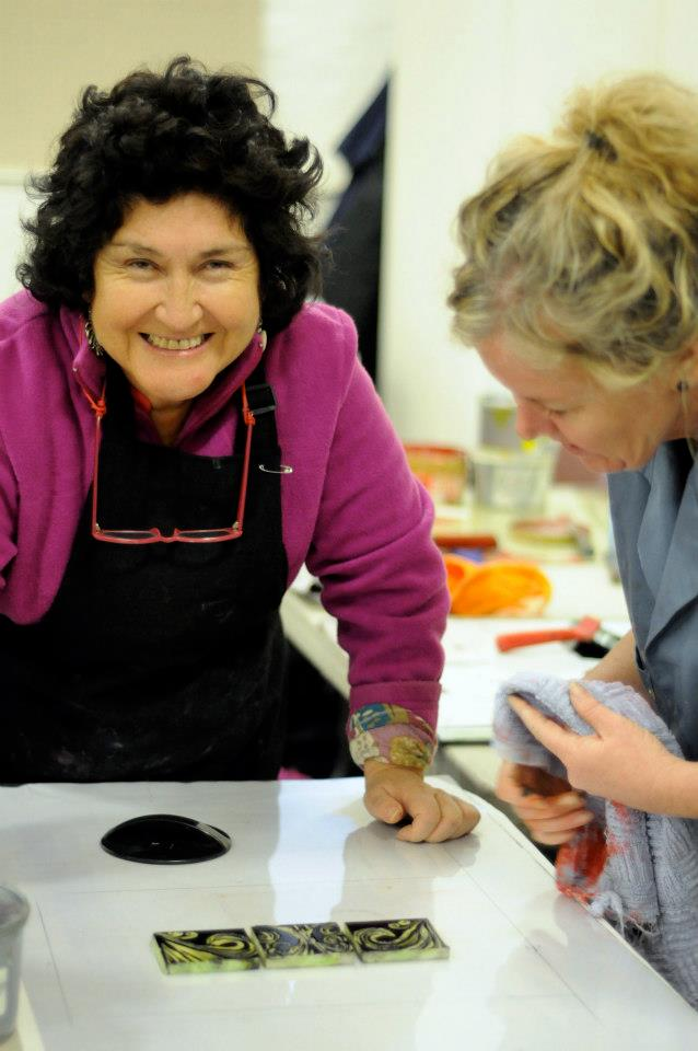 Roxana Fuentes with Printmaker Michele Davies