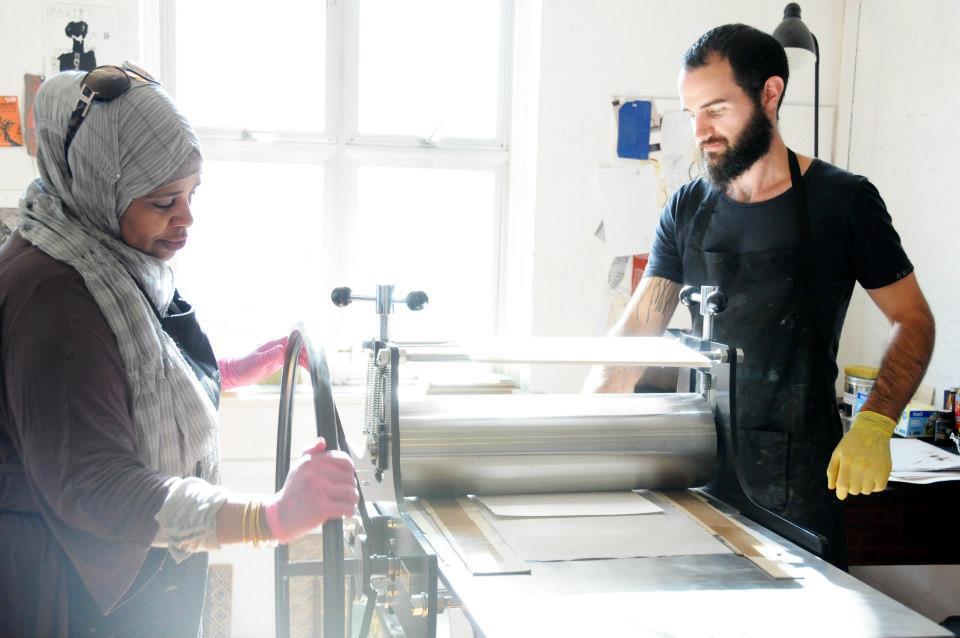 Khanya Ibrahim with Printmaker Shaun Duggan