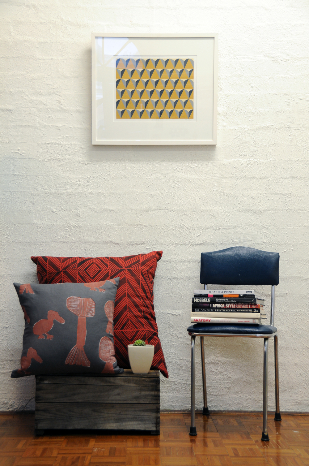 Installation view of  Pattern I  by Julius Bright Sackey with Elcho Island Cushions. Photo: Tamaryn Goodyear.