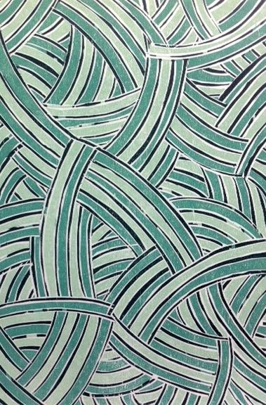 Rulyapa (blue) by Ruby Djikarra Alderton, Reduction woodblock on Magnani paper, 29x19,5 cm