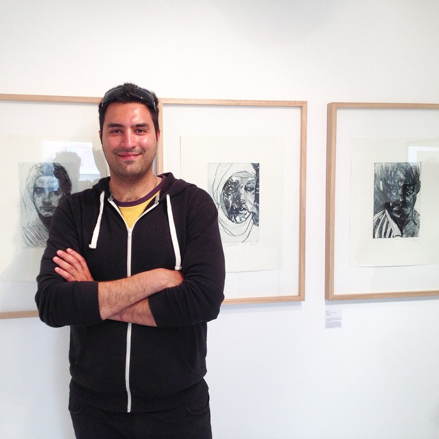 Hamed Rayat at the preview of his  Boat People  series of etchings. Photo: Sean Smith