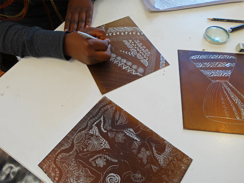 Ayel Akot etchings inspired by African textiles in progress