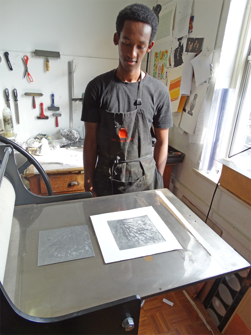 Guled Abdulwasi with his first ever etching