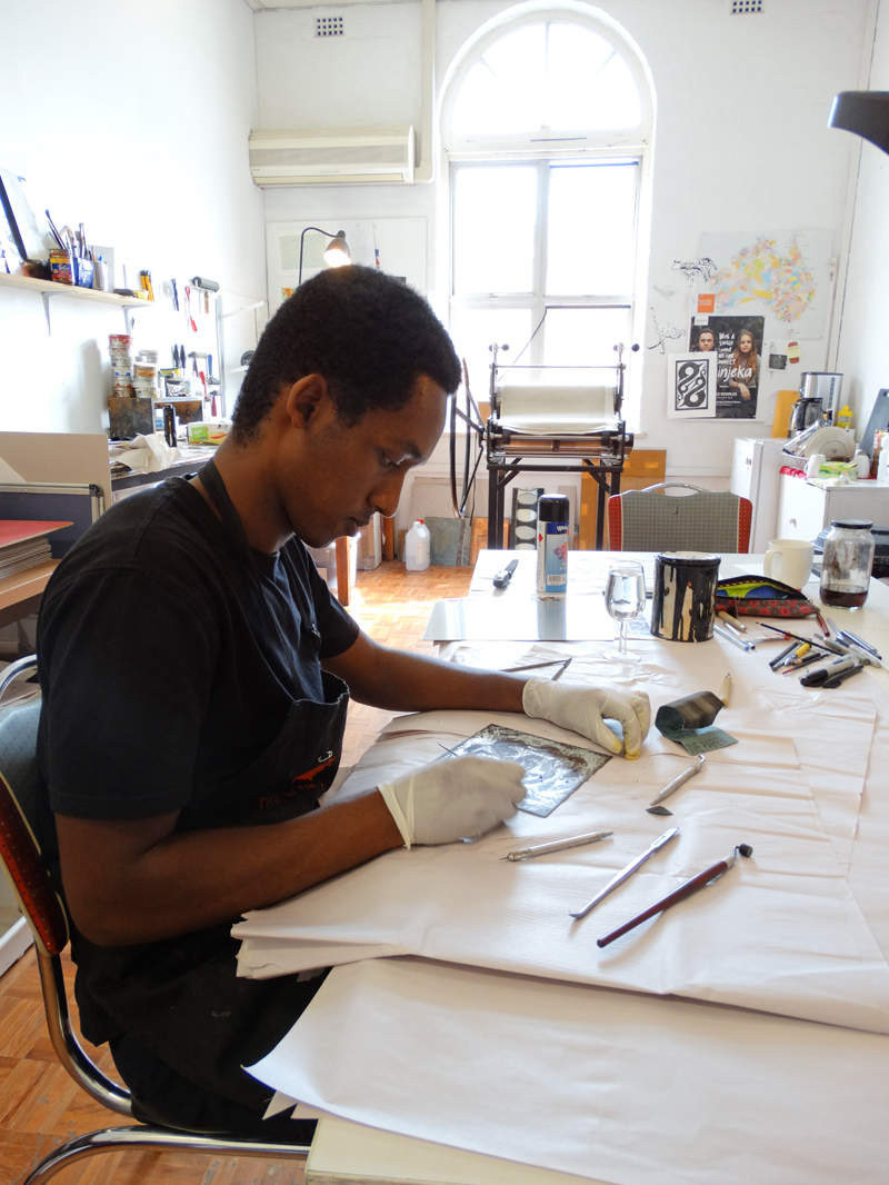 Guled Abdulwasi spending a morning working in our print studio