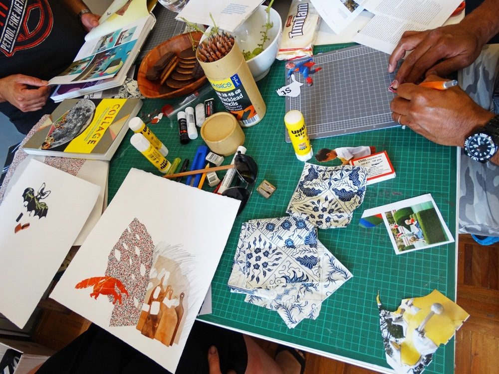 Resident artists working in the studio