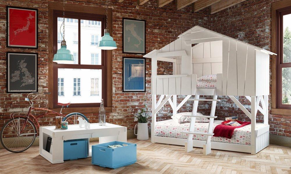 """lit enfant superposé en forme de cabane blanche dans une chambre - """"Treehouse"""" Mathy by Bols"""