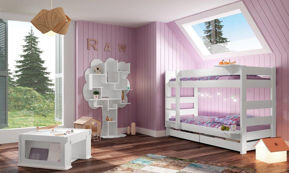 Lit superposé blanc dans chambre de fille - Mathy by Bols