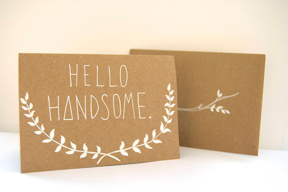 'Hello Handsome' hand illustrated valentines card, available here & here.