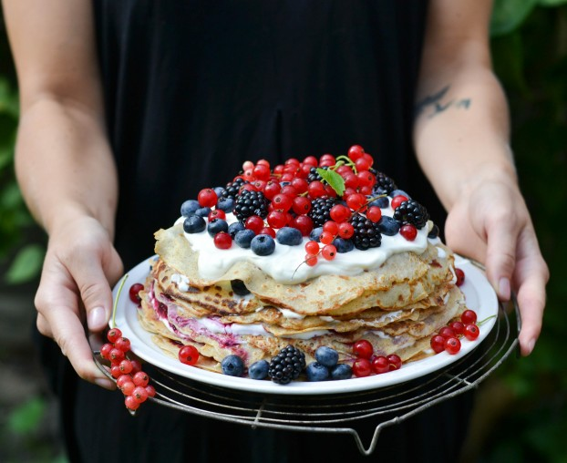 Pancake Cake with Forest Berries & Cream