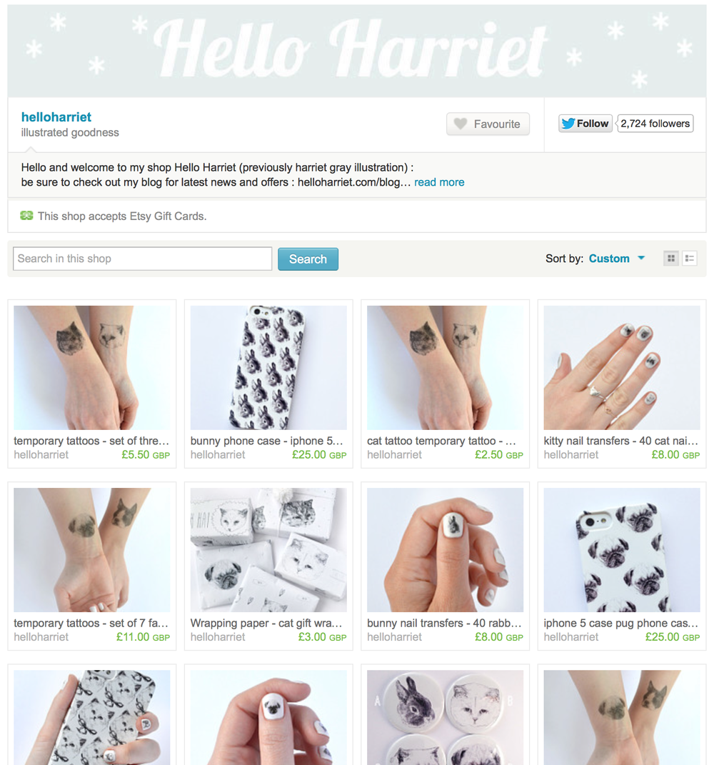 Harriet has cleverly and effectively expanded her range very simply by having products printed with her beautiful illustrations on - such as mirrors, badges, wrapping paper and phone cases!