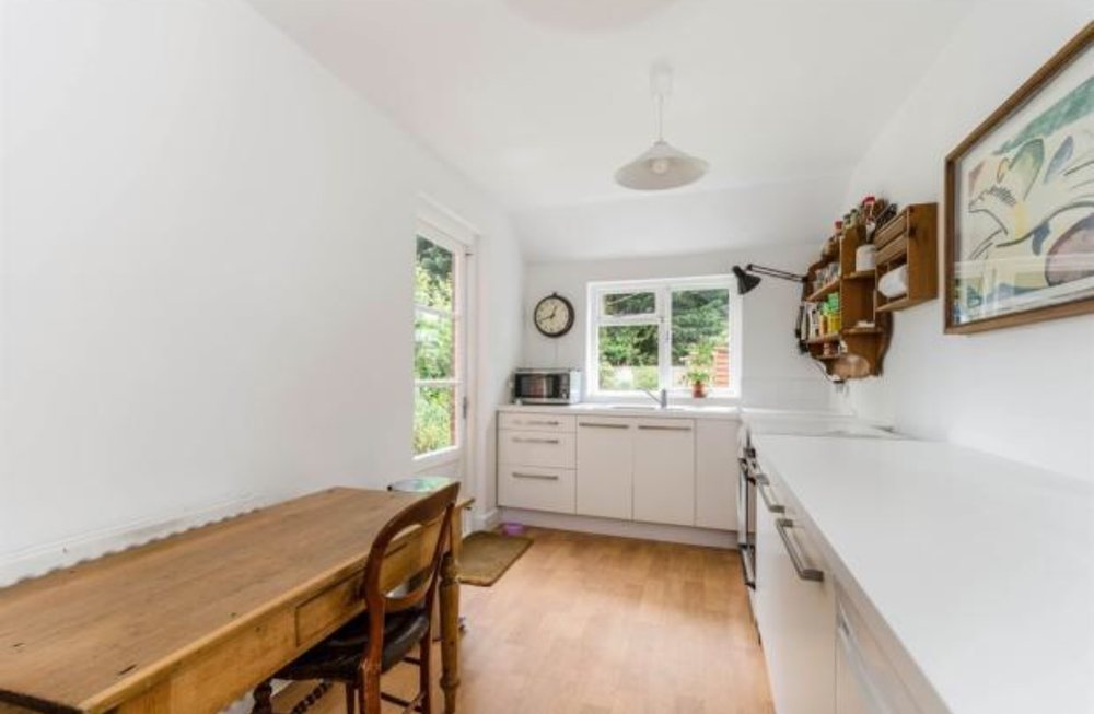 This was the photo from the estate agents listing - you can see the old back door...and questionable shelving!