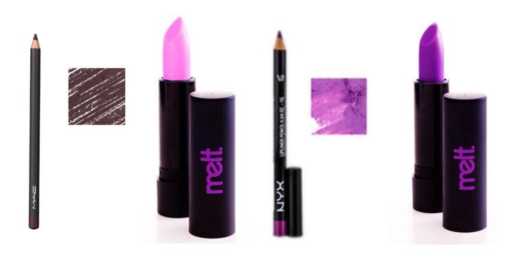 (Left to right) Vino lipliner, Darling lipstick, Purple Rain lipliner, By  Starlight lipstick