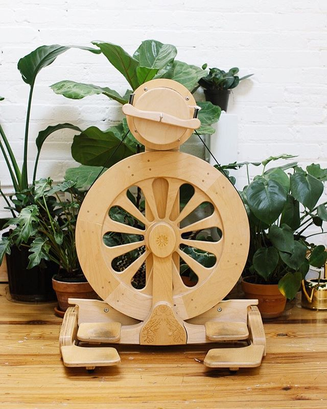 Our favorite @spinolution wheel, cozied up to our studio plants 🌿 Did y'all know we sell these? All the handspun yarn we make for Camellia Fiber Company is spun on a @spinolution wheel...we love their solid, beautiful design and functionality more than any other brand. If you are there thinking about getting into hand spinning, email us! We sell several models, including a really cute kids wheel 👧🏽❤️