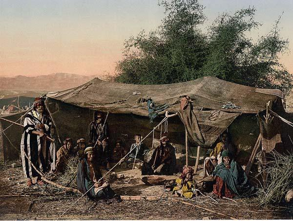 Bedouin camp, Unknown photographer, color photochrome print, 1880-1890