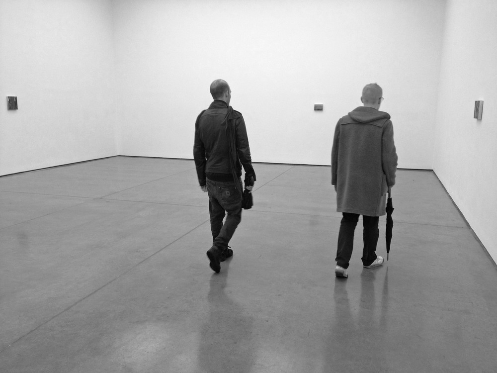 With two friends at White Cube Gallery, Hoxton Square, London