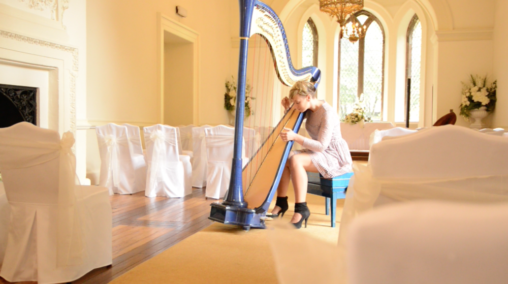 Jemima Phillips Harpist - Clearwell Castle Ballroom Chairs Sideways
