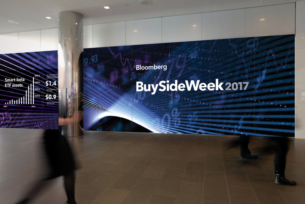 Infographics / Environmental graphics I designed for  BuySideWeek2017: Focus on Fintech , an event hosted by Bloomberg.