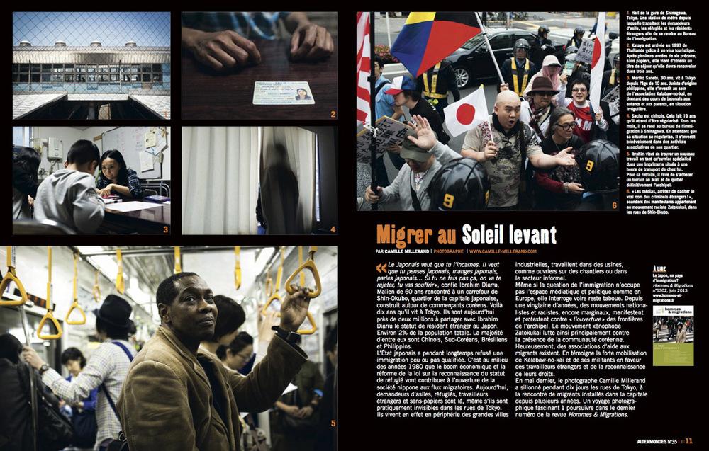 Reportage sur les  migrants vivant à Tokyo  publié dans la revue Altermondes - Septembre 2013