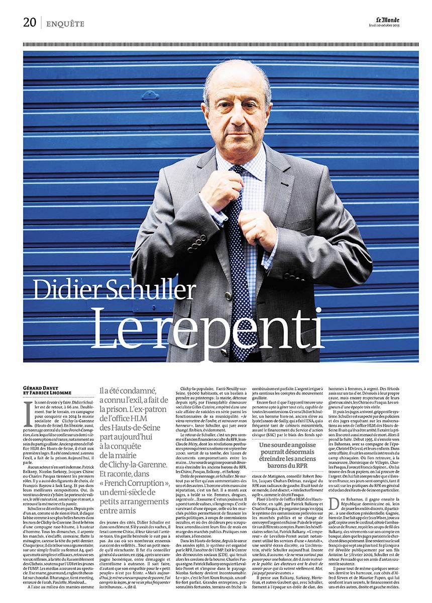 Portrait de Didier Shuller, candidat aux municipales 2014 à Clichy-La-Garenne - Le Monde - 10 octobre 2013