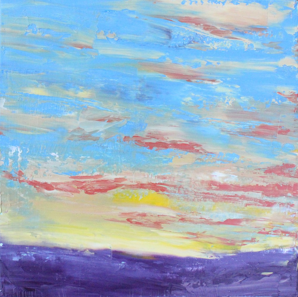 Oil painting 2: vibrant Colorado sunset over the mountain range