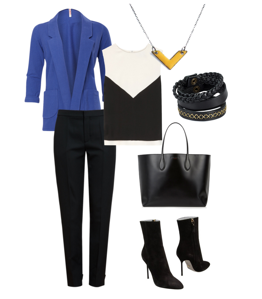 Minimalist fashion keeping its edge and visual interest. Blazer, Blouse, Pants, Necklace, Bracelets, Handbag, Shoes
