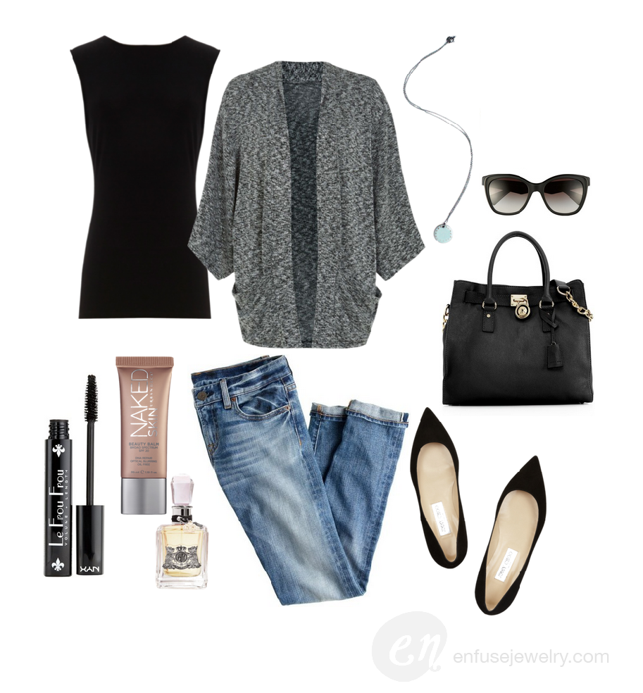Top ,  Kimono Cardigan ,  Jeans ,  Mascara ,  BB Cream ,  Perfume ,  Necklace ,  Sunglasses ,  Handbag ,  Shoes