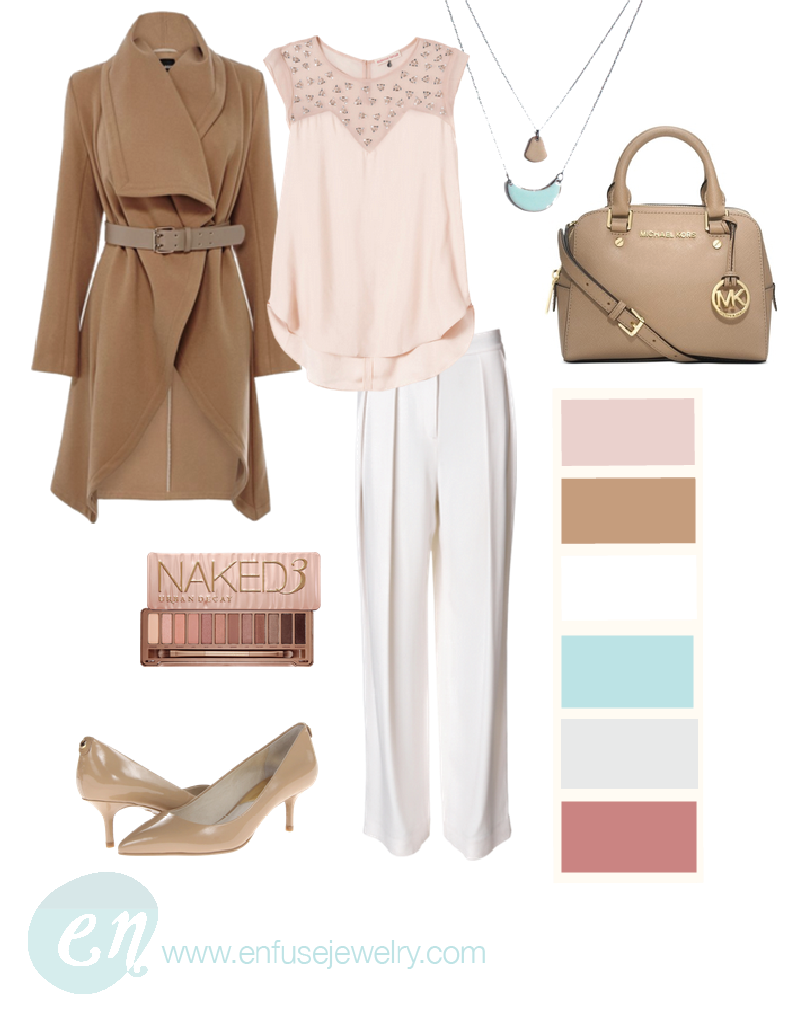 Necklaces ,  Coat ,  Blouse ,  Pants ,  Bag ,  Shoes ,  Eyeshadow