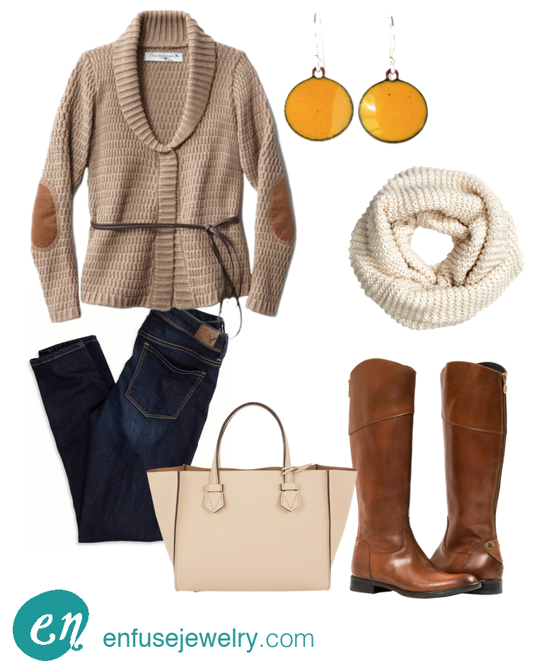 Perfect Fall Fashion:  Earrings ,  scarf ,  boots ,  bag ,  jeans ,  sweater