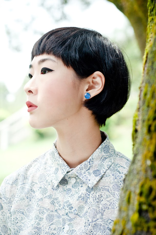 Kapok's lookbook featuring Enfuse Jewelry's simple and colorful enamel stud earrings. Great attention to details.