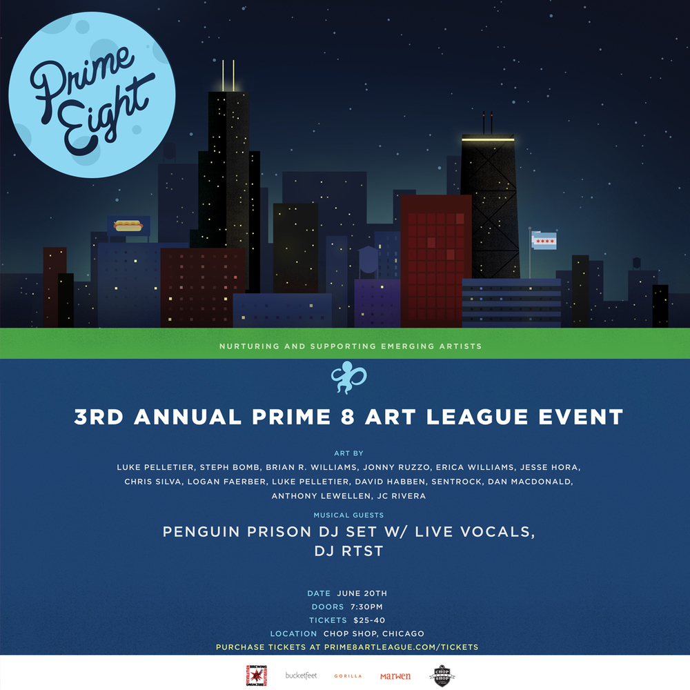 On Friday, June 20 @  The Chop Shop , we will be showcasing:   • Penguin Prison DJ Set w/ Live Vocals (   video )    •     Big Ticket Charity Raffle (  Chicago Blackhawks,   WGN Radio,   Lettuce Entertain You, Etc)    •   Fresh Art Work    •   Live Street Artists    •     Food from The Chop Shop    •     Beverages from Revolution Brewery & Redbull    •   And More