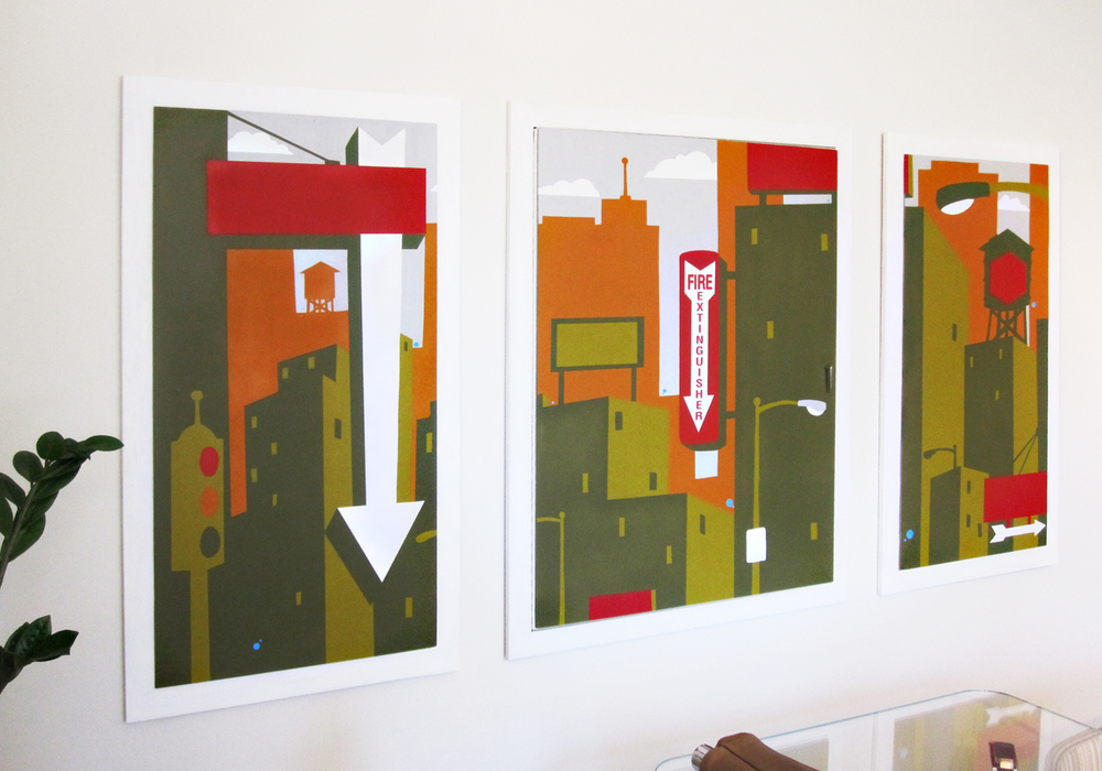 I had the great opportunity to work with OFS BRANDS on a site specific commission for their Chicago Show room. This triptych in part was created to solve the problem of a code required Fire extinguisher panel in the center of the room.