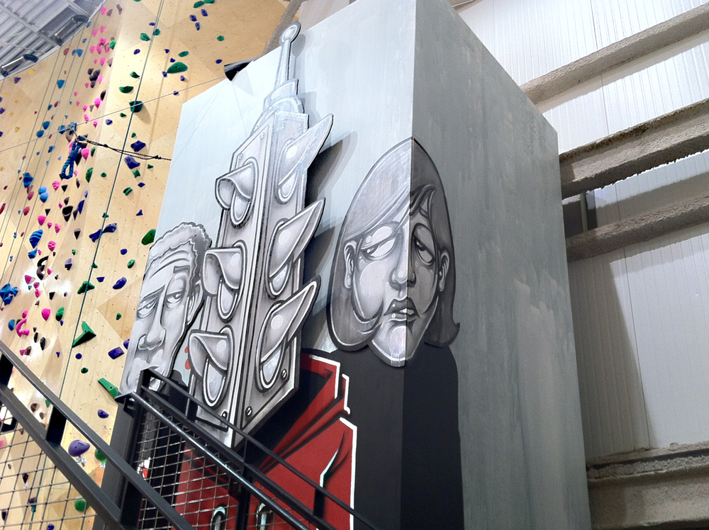 Working with the Prime 8 Art League and Brooklyn Boulders Chicago I had the opportunity to create a large scale installation in the 5 story climbing space on the exterior of a 3 story elevator shaft.