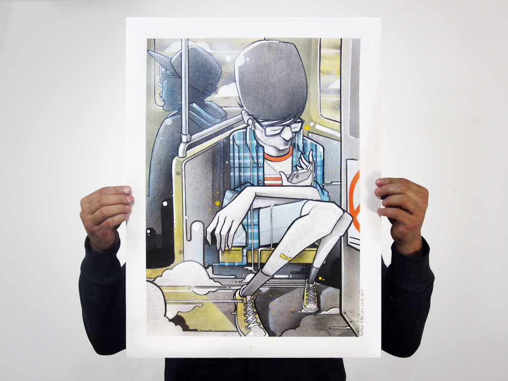 "Week 17 complete.  In Transit 18"" x 24"" ink, acrylic, spray enamel on paper"