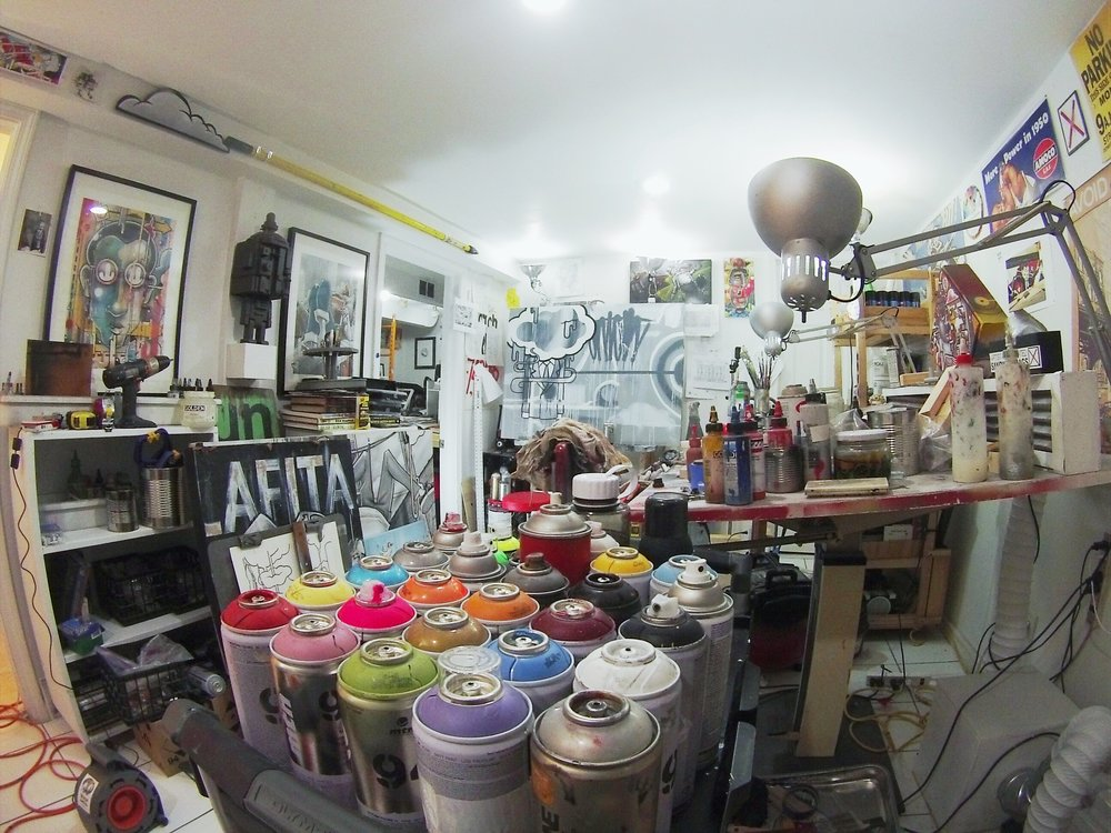 Studio cleanup. The battle against the ever encroaching, progress debilitating mess. First attempt this year.