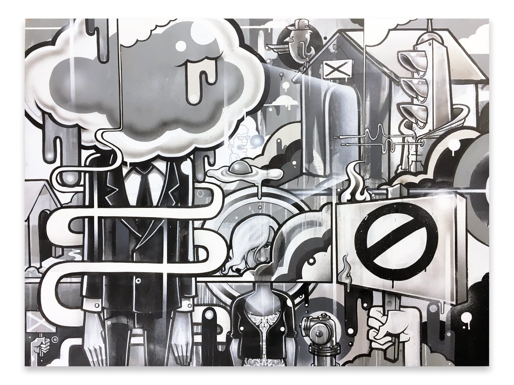"Month 10 Complete. The Inevitable End 48"" x 36""  ink, acrylic, latex and spray enamel on wood panel"